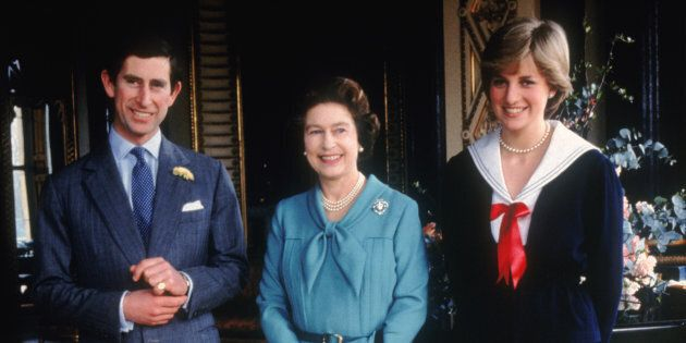 Prince Charles and his fiancee Lady Diana Spencer with Queen Elizabeth II at Buckingham Palace, 7th March...