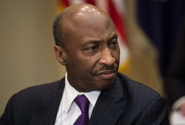Kenneth Frazier, CEO of pharmaceutical company Merck, attends a meeting between U.S. President Donald...