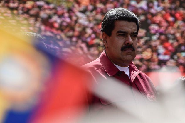 Venezuela's President Nicolas Maduro attends a rally supporting him and opposing U.S. President Donald Trump, in Caracas, on Aug. 14, 2017.