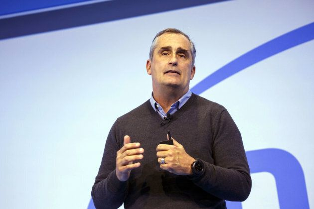 Brian Krzanich, chief executive officer of Intel Corp., speaks during the company's press event at the...