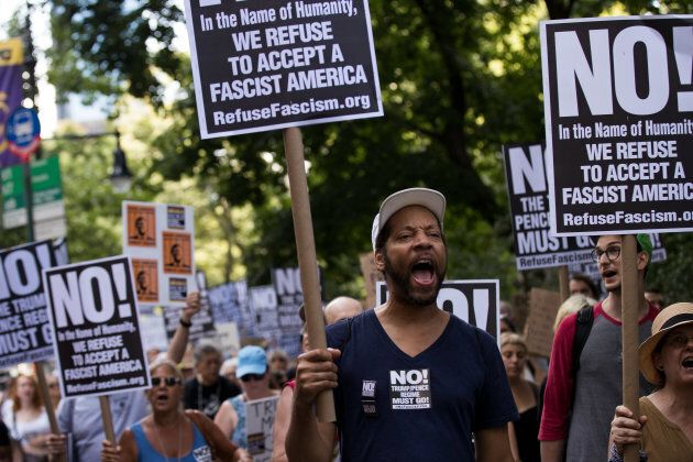 Protestors rally against white supremacy and racism in Columbus Circle on Aug. 13, 2017 in New York