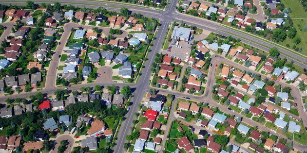 Aerial shot of a residential neighbourhood in