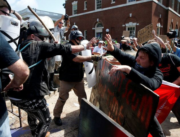 White supremacists clash with counter protesters at a rally in Charlottesville, Va. on