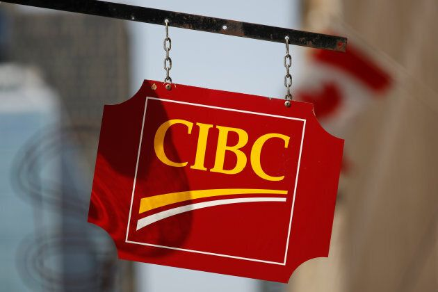 A sign outside a CIBC bank branch in