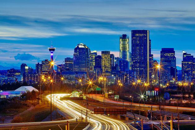 Skyline of Calgary, Alta., at dusk.