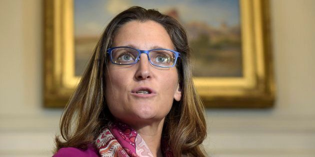 Canadian Foreign Minister Chrystia Freeland speaks during a photo opportunity with U.S. Secretary of...