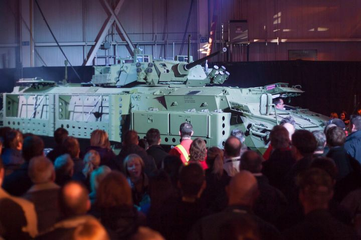 The new upgraded Light Armoured Vehicle is unveiled at a news conference at a General Dynamics facility in London, Ont., on Jan. 24, 2012.