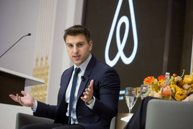Brian Chesky, chief executive officer and co-founder of Airbnb Inc., speaks during an Economic Club of...