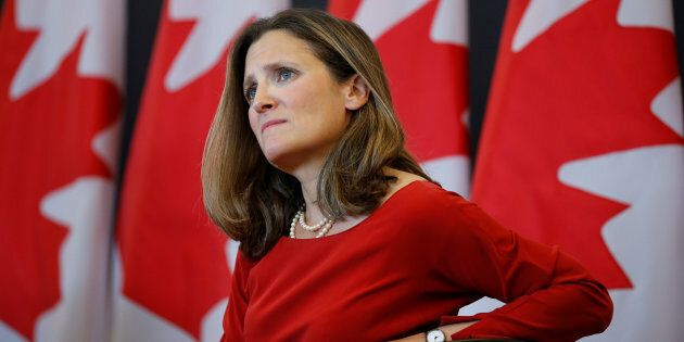 Canada's Foreign Minister Chrystia Freeland takes part in an event at the University of Ottawa in Ottawa,...
