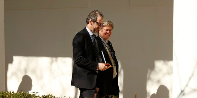 Gerald Butts, adviser to Prime Minister Justin Trudeau, walks down the West Wing colonnade with Trump...