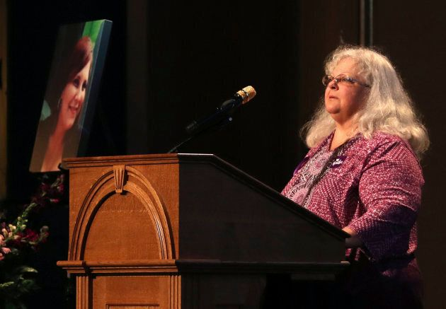 Susan Bro, mother to Heather Heyer, speaks during a memorial for her daughter, at the Paramount Theater...