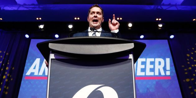 Andrew Scheer speaks after winning the leadership during the Conservative Party of Canada leadership...