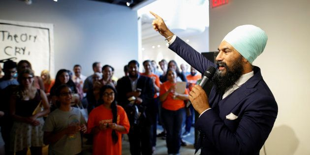 New Democratic Party federal leadership candidate Jagmeet Singh speaks a meet and greet event in Hamilton,...