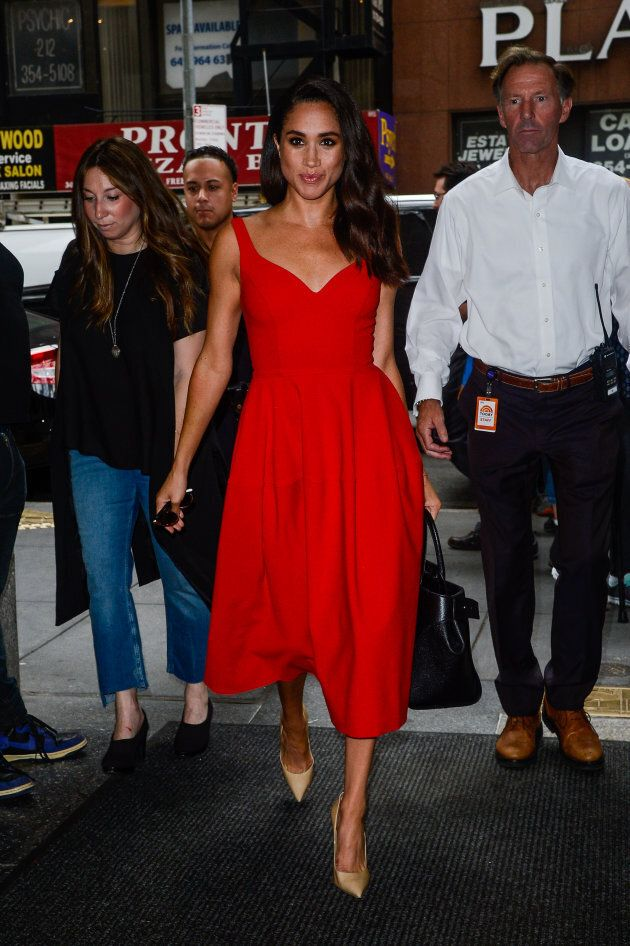Actress Meghan Markle enters the 'Today Show' taping at NBC Rockefeller Center Studios on July 14, 2016...