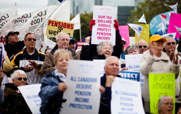 Former employees and pensioners of Nortel Networks Corp gather in front of Queen's Park to protest the loss of pensions and severance pay in Toronto, Ont., Oct. 7, 2009.