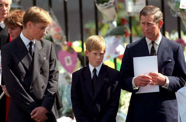 The Prince of Wales with Prince William and Prince Harry outside Westminster Abbey at the funeral of Diana. (Photo by Anwar Hussein/WireImage)