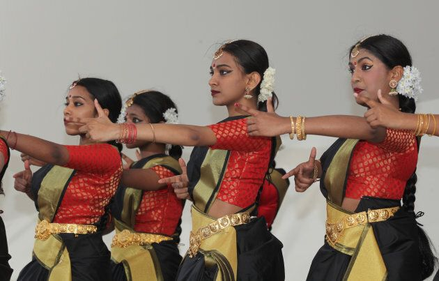 Tamil Bharatnatyam dancers mimic the execution squads of the Sri Lankan Army while performing an emotional dance honoring the dead and showcasing the atrocities committed by the Sri Lankan Army during Tamil Genocide Remembrance Day on May 18, 2017 in Toronto, Ont.