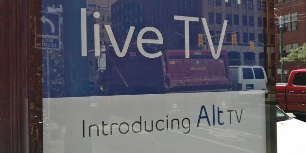 A sign advertising Bell's Alt TV service on a street on Toronto on Aug. 16,