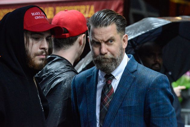 Activist Gavin McInnes takes part in an alt-right protest of Muslim activist Linda Sarsour on April 25,...