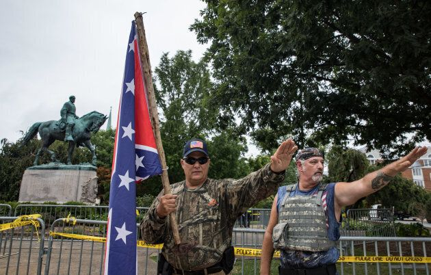 White supremacists in Emancipation Park prior to the Unite the Right rally in Charlottesville, Va., Aug....