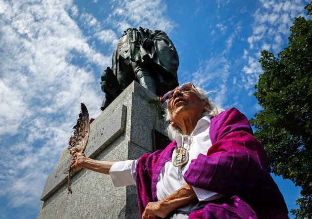 Isabelle Knockwood, an elder of Indian Brook calls for the removal of the statue of Halifax founder Edward...