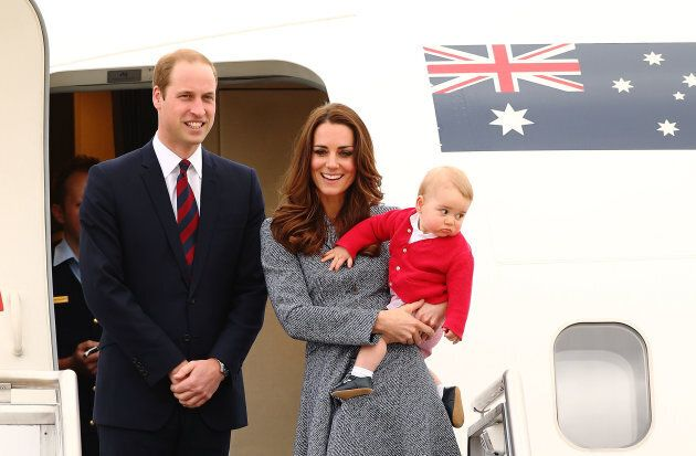 The Duke and Duchess of Cambridge and Prince George on their royal tour of Australia in 2014. (Photo...