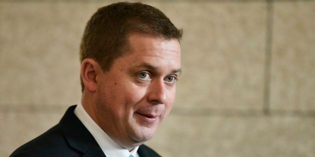 Conservative Leader Andrew Scheer talks with media in Ottawa on June 21,