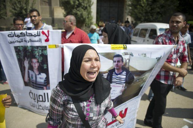 Activists and supporters protest for the freedom of Maikel Nabil Sanad on Oct. 4, 2011 in Cairo, Egypt. The blogger was sentenced to three years in prison for criticizing the military. When this photo was taken, he had been on a hunger strike for 43 days.
