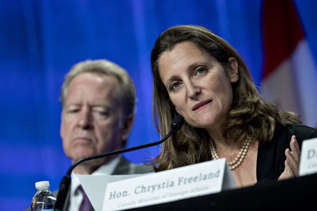 Chrystia Freeland, minister of foreign affairs, speaks during the first round of North American Free...