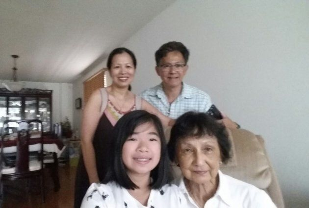 My parents, sister and paternal grandmother taking a