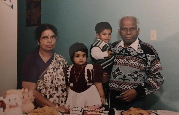 Sivi Pradeepan with her maternal grandparents and