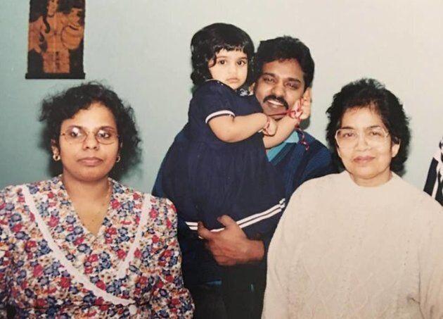 Pradeepan with her parents and paternal