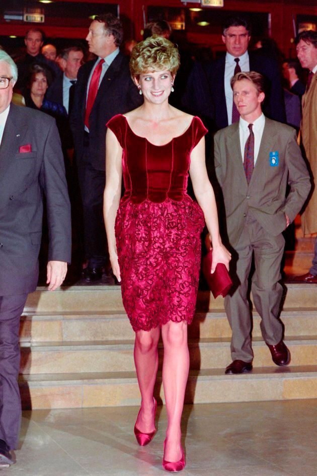 Diana, Princess of Wales, arrives at the Lille Congress Hall on November 15, 1992 for the opening of...