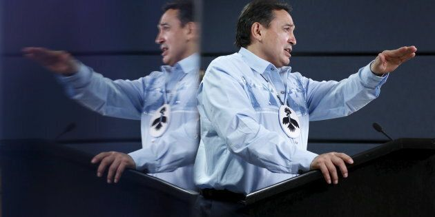 Assembly of First Nations National Chief Perry Bellegarde speaks during a news conference in Ottawa on...