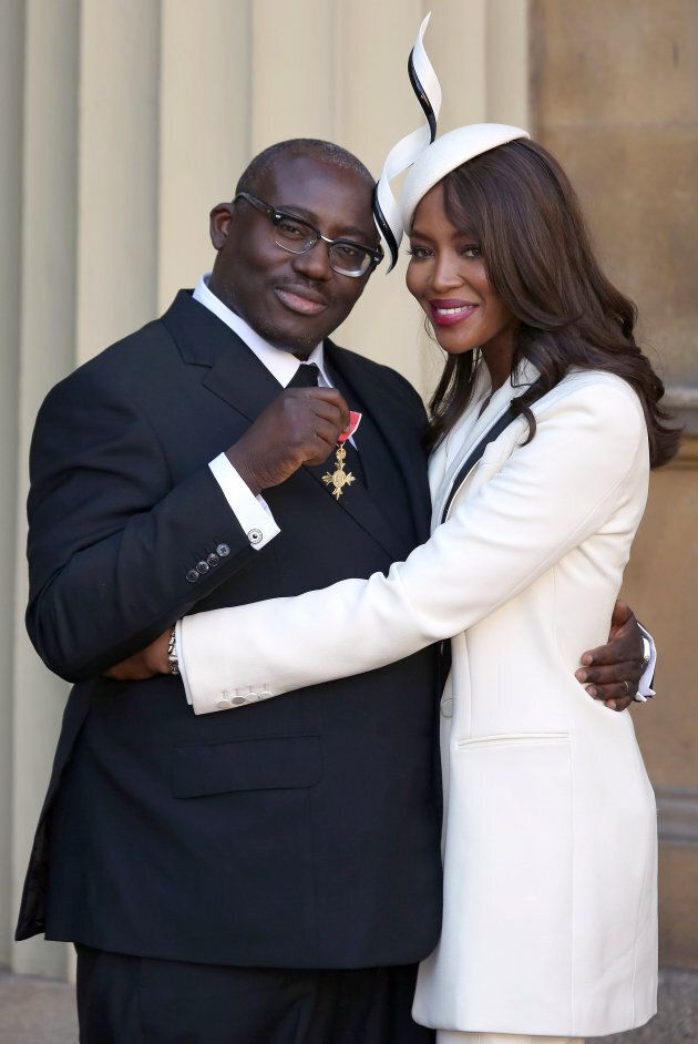Naomi Campbell poses with fashion stylist Edward Enninful, after Enninful received his Officer of the...