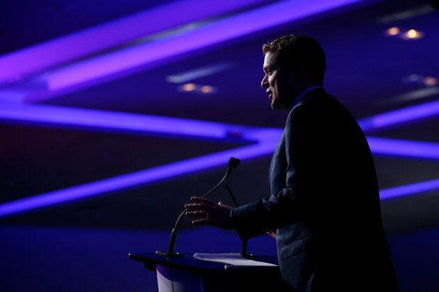 Conservative leader Andrew Scheer, then a candidate, speaks at the Conservative Party of Canada leadership convention in Toronto, Ont. on May 26, 2017.