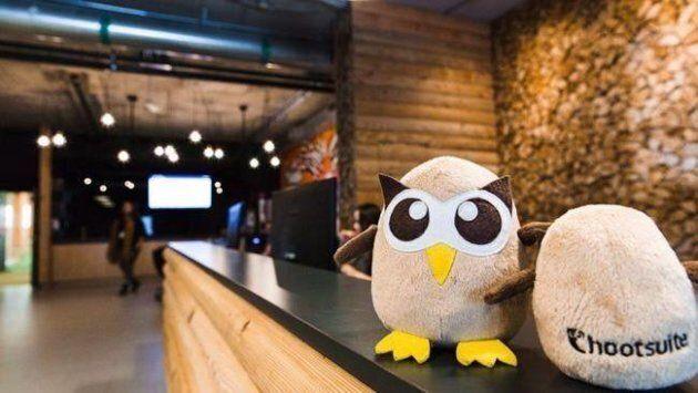 Hootsuite's owl mascots are shown in the company's cabin-themed office in Vancouver in a handout