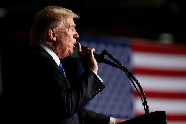 U.S. President Donald Trump announces his strategy for the war in Afghanistan during an address from...