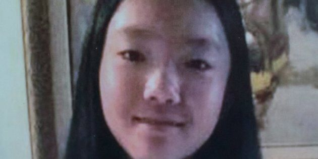 A photo of Marissa Shen, 13, is displayed during an RCMP news conference in Burnaby, B.C., on July 19,