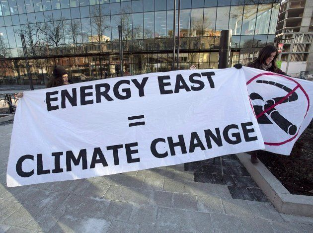 Members of Stop Energy East Halifax protest outside the library in Halifax on Monday, Jan. 26, 2015....