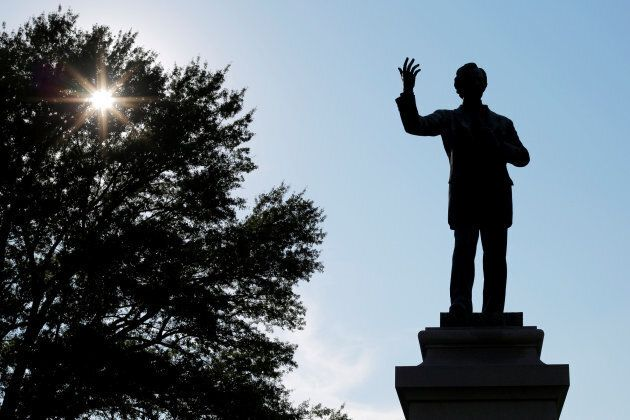A statue of Jefferson Davis, President of the Confederate States, stands in Memphis Park, formerly named...