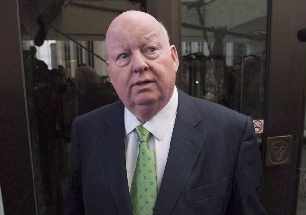 Sen. Mike Duffy leaves the courthouse after being acquitted on all charges on April 21, 2016 in