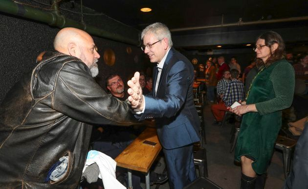 Charlie Angus greets supports after announcing his leadership bid in Toronto on Feb. 26,