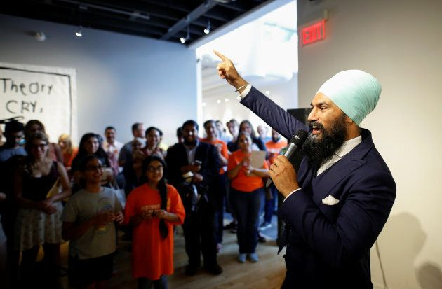 NDP leadership candidate Jagmeet Singh speaks at an event in Hamilton, Ontario on July 17,