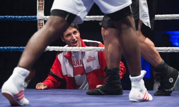 Prime Minister Justin Trudeau looks on during a charity boxing event in Montreal on Aug. 23,