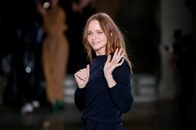 British designer Stella McCartney appears at the end of her Fall/Winter 2017-2018 women's ready-to-wear collection show during the Paris Fashion Week, in Paris, France March 6, 2017. REUTERS/Benoit Tessier