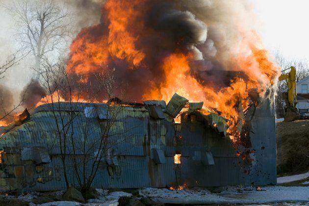 A barn burns in Quebec City, Que.