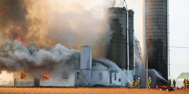 Firefighters battle a barn fire near St. Thomas, Ont., Feb. 1, 2016. Ontario Provincial Police said approximately 90 dairy cows died.