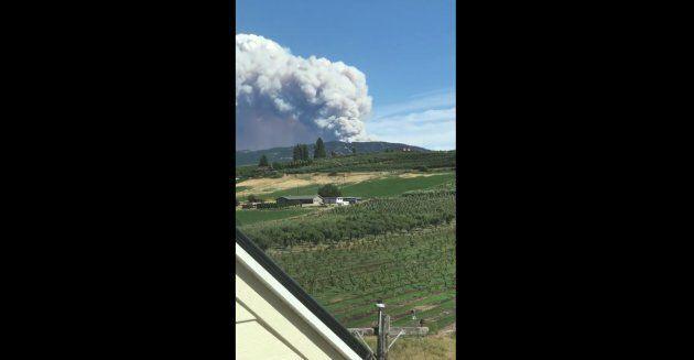 A wildfire east of Kelowna, B.C.