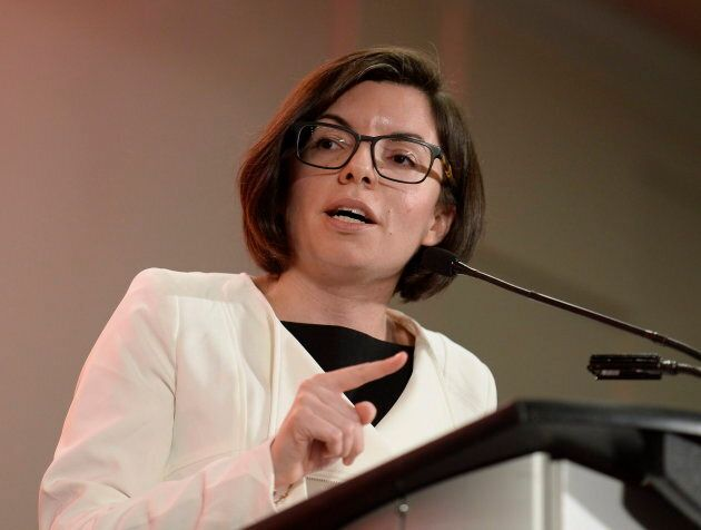 Niki Ashton speaks as she participates in the first debate of the federal NDP leadership race in Ottawa...